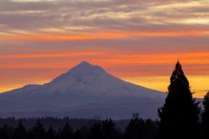 Mount Hood sunset background